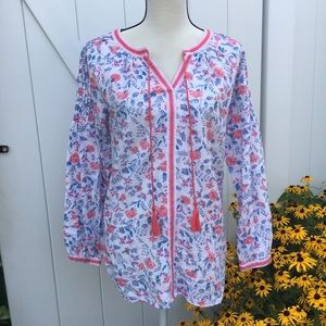 Joules Cotton/Linen Blend Floral Embroidered Tunic